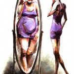 Anorexic Woman Seeing Overweight Woman in Mirror