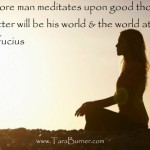 The more man meditates upon good thoughts, the better will be his world & the world at large