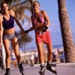 Females roller-skating